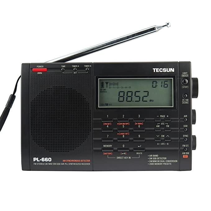 TECSUN PL-660 Dual Conversion Portable Digital Radio FM Stereo/MW/SW/LW /SSB /Air Band Receiver Time Display Alarm Clock Good Choice for Navigation and ...