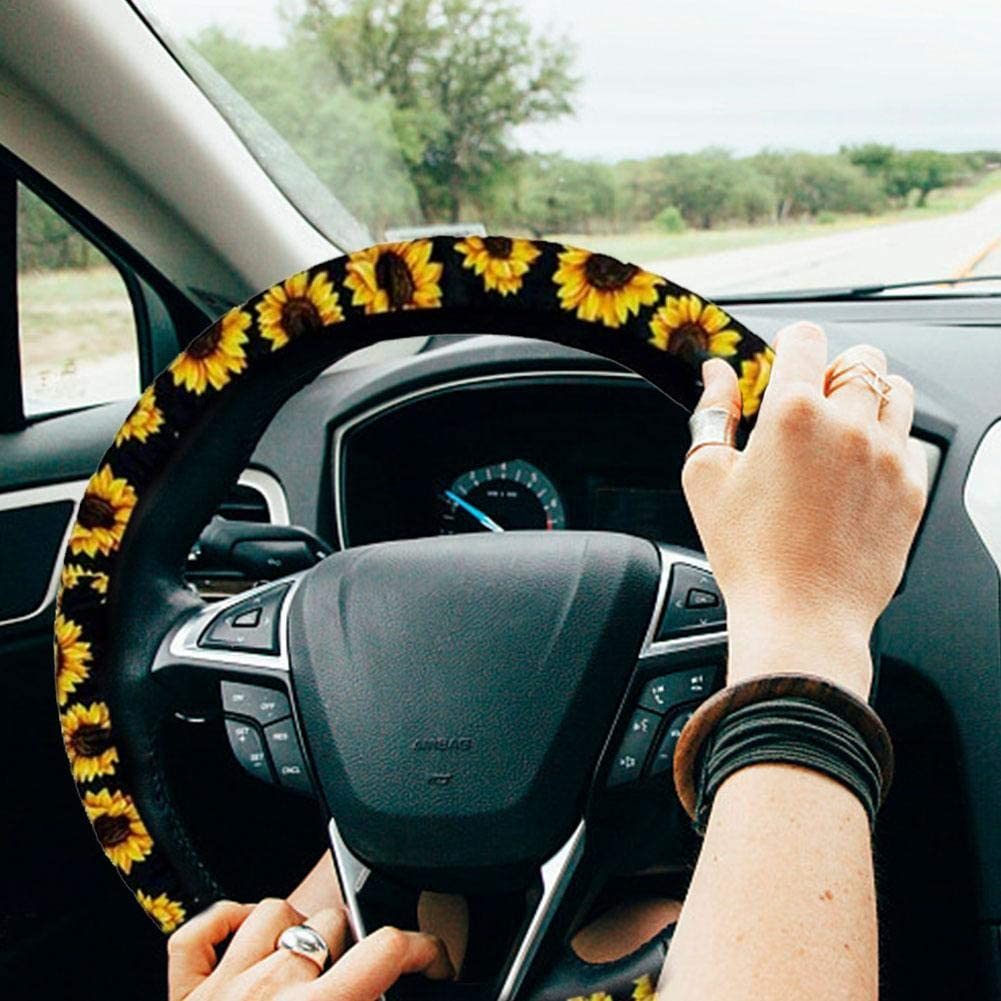 2 Piece Car Seat Belt Shoulder Strap Sunflowers Black Background pentagon Steering Wheel Cover Car Accessories With 1 Pieces Cute Sunflowers Keyring And 2 Piece Car Vent Sunflowers
