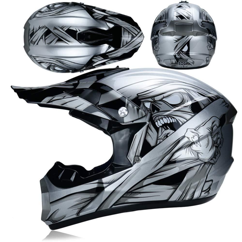 Adult Motocross Helmet MX Off Road Helmet Scooter ATV Helmet DOT Certified Multicolor with Goggles//Gloves//Mask