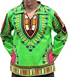 RaanPahMuang Brand European Poets Collar Long Sleeve Shirt African Dashiki Art, Large, Bright Green