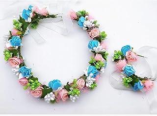 TAN2 Fascia da Nuoto con Cappello da Fiore a Fiori di Garland Halo con Banda FloralWrist per i Festival di Nozze Beach Resort, 9