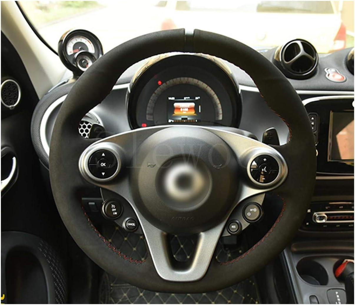 Passt f/ür 2015-2019 new smart 453 fortwo forfour DIY Hand gen/ähte Leder Auto Lenkradbezug