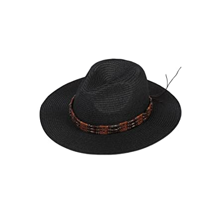 d6128e977f4 DALL Bucket Hats LY-235 Retro Beaded Men s Cool Hat Visor Hat Sun Cap Straw  Hat Beach Hat Beach Fishing Cycling (Color   Black)  Amazon.co.uk  Kitchen    ...
