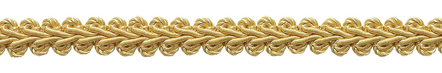 DecoPro 1.27cm Basic Trim French Gimp Braid, Style# FGS Color: LIGHT GOLD - B7, Sold by the Yard (1 Yard = 91cm/3ft/36
