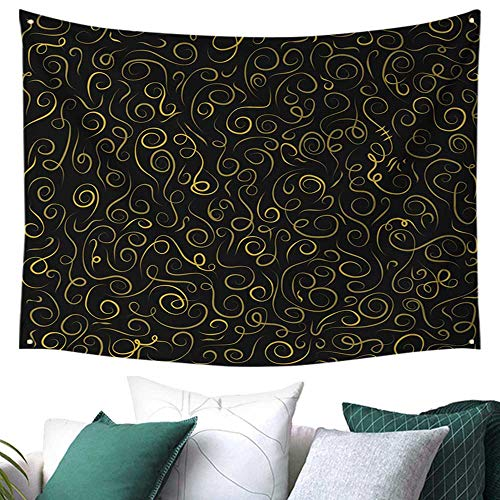 Tapestry Wall Hanging,Hand Drawn Curls and Swirls Collections ,Tapestry Indoor Outdoor Garden 72