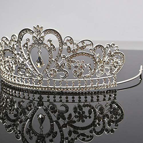Silver Tiara Cake Topper Girls Women Birthday Party Crystal Rhinestone Beaded Princess Hair Accessory