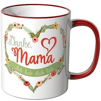 bb56c3720f4 WANDKINGS Tasse, Schriftzug Danke Mama. Ich hab Dich lieb. - ROT ...