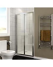 ELEGANT Bi-Fold Glass Shower Screen Enclosure Reversible Folding Shower Cubicle Door with Tray