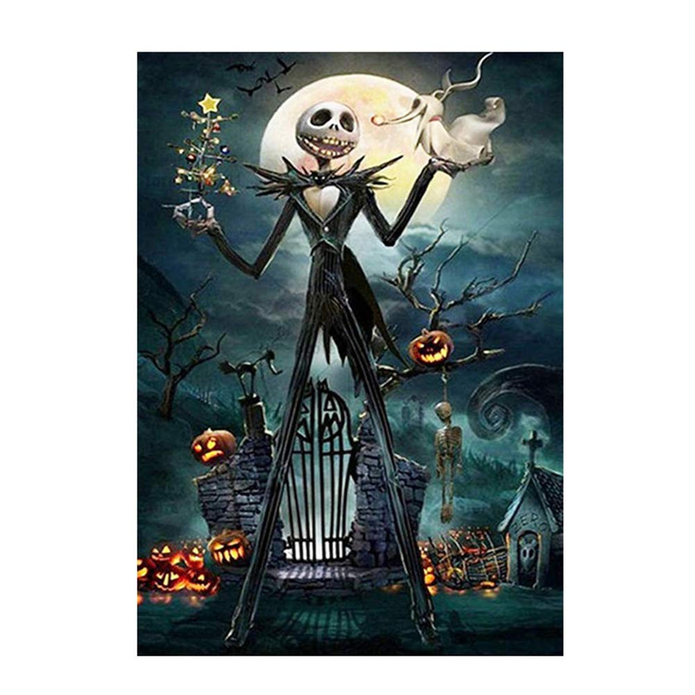 2 Sets 5D Full Drill Diamond Painting Kits Halloween Skull Ghost Pumpkin Rhinestone Painting Embroidery for Art Craft and Home Decoration 12 x 16 inch
