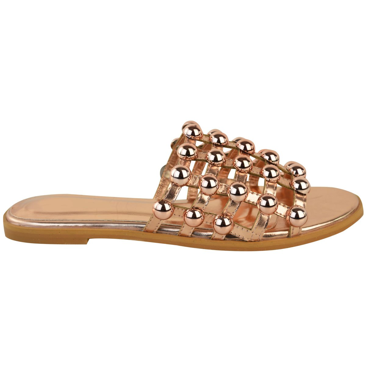 Fashion Thirsty Womens Flat Studded Summer Sandals Open Slip On Shoes Size 6