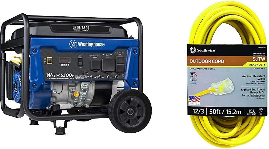 Westinghouse WGen5300v Portable Generator with 120/240 Volt Selector & Southwire 2588SW0002 Outdoor Extension Cord- 12/3 American Made SJTW Heavy Duty 3 Prong Extension Cord ( 50 Foot- Yellow)