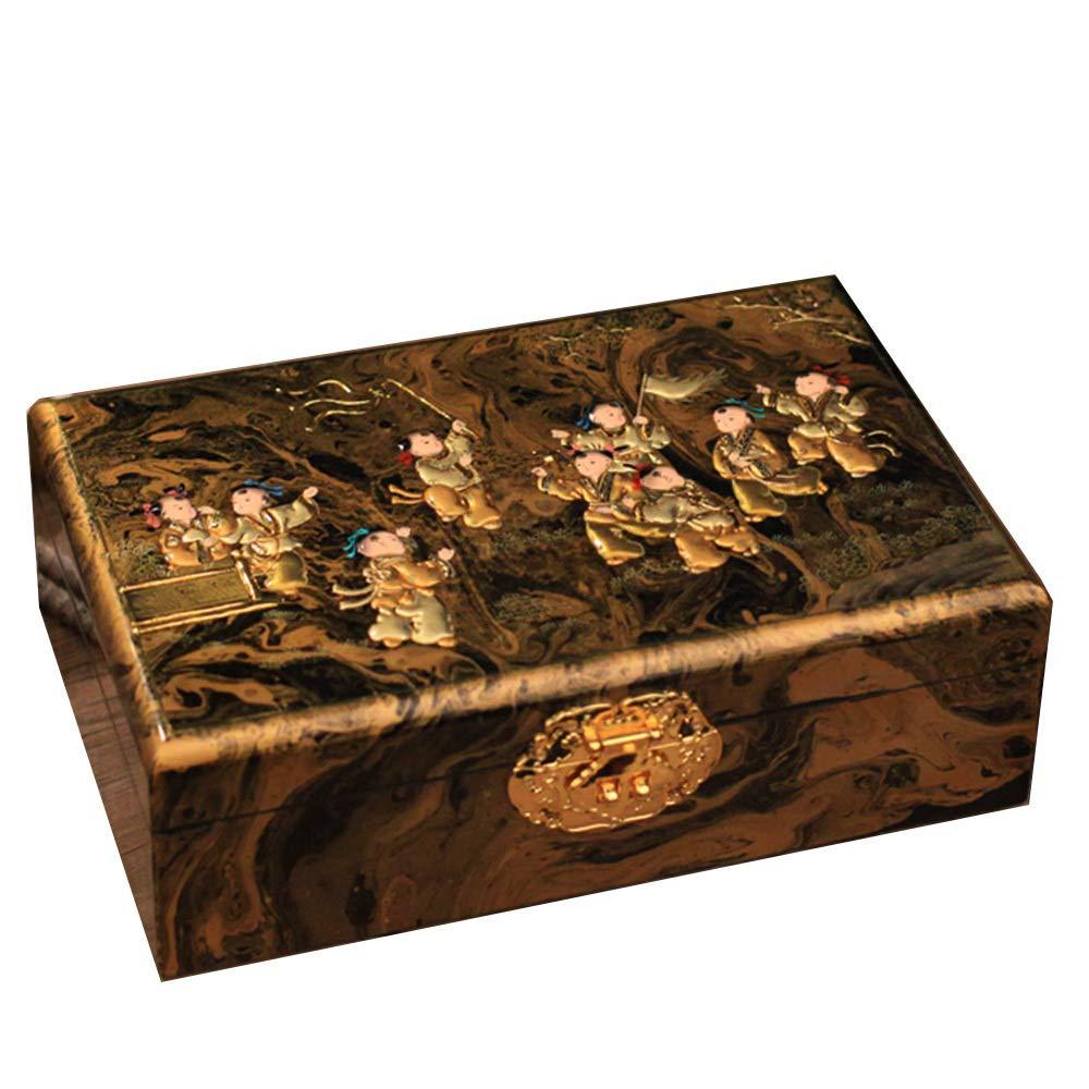 irugh Caja Almacenamiento Chino Madera Caja Doble Capa colección Almacenamiento Caja Regalo Bolso joyero Almacenamiento Caja de joyería: Amazon.es: Hogar