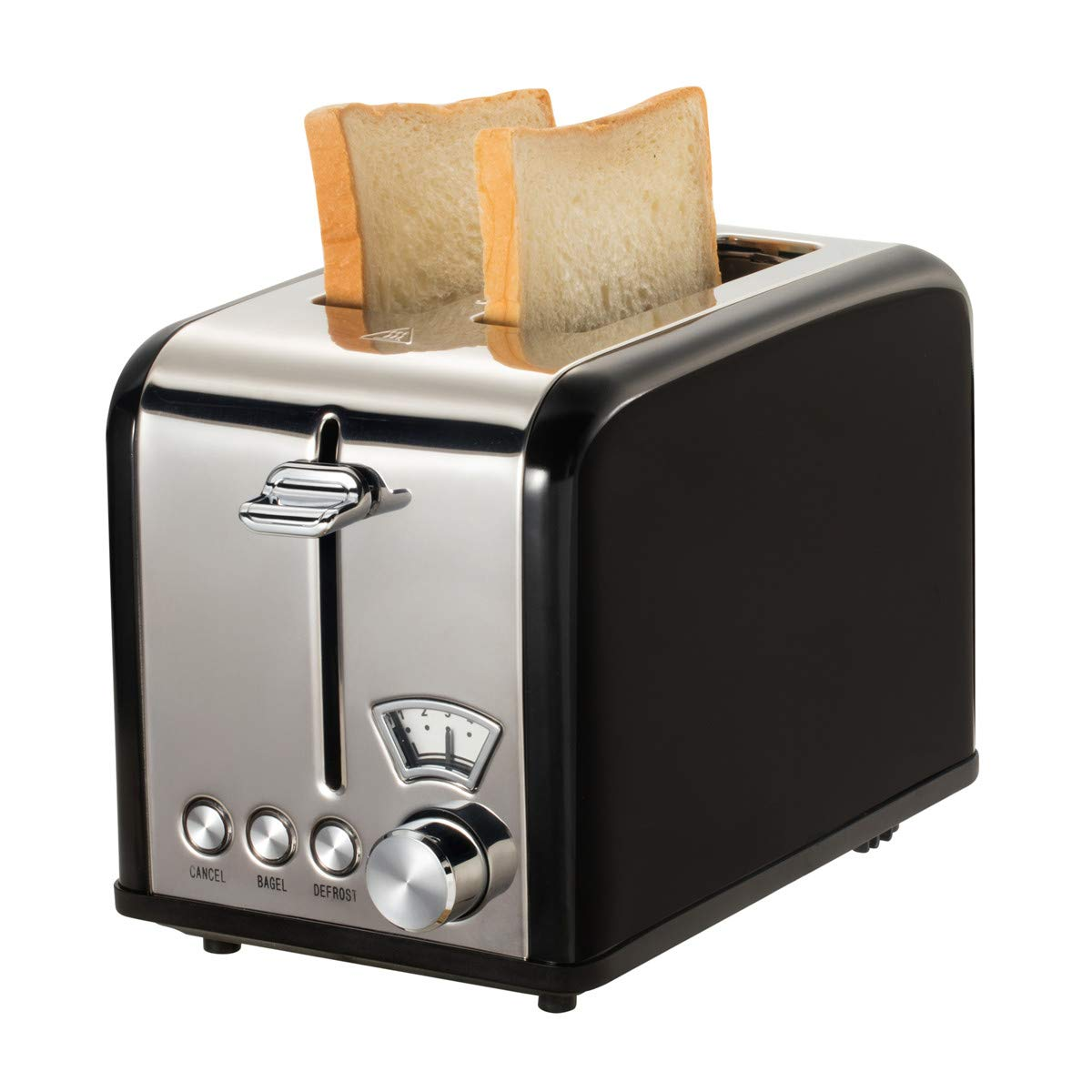 Retro Small Toaster with Bagel, Cancel, Defrost Function, Extra Wide Slot Compact Stainless Steel Toasters for Bread Waffles (2 Slice, Black)
