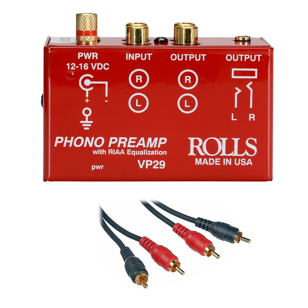 Rolls VP29 Phono Preamp with 2 RCA Male to 2 RCA Male Dual Audio Cable -3' by rolls