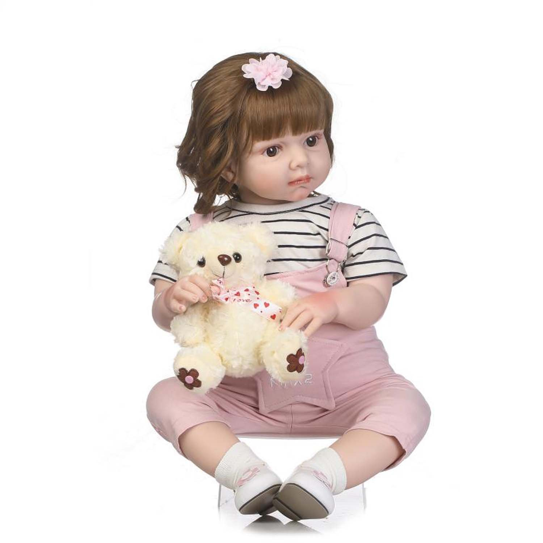 Terabithia 28 Pulgadas 70 cm Rare Alive Cambiar la Ropa Reborn Toddler Girl Dolls con Pelo Rizado marrón