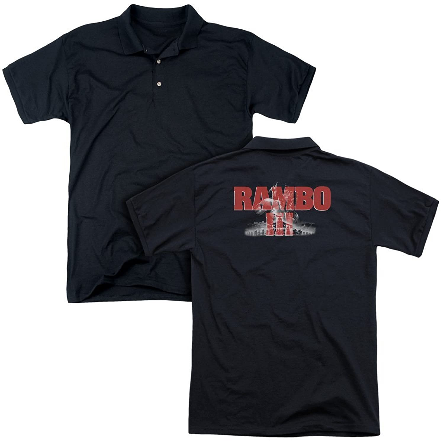 Rambo Action War Stallone Movie Series Third Attack Adult Back Print Polo Tee