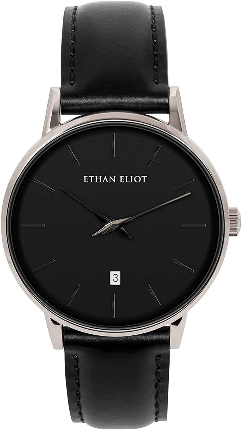 Ethan Eliot Classic Minimalist Men s Watch, Women s Watch, St. Johns 38mm Silver Watch for Men Watch for Women Unisex with Date, Black Face Leather Band, 5ATM