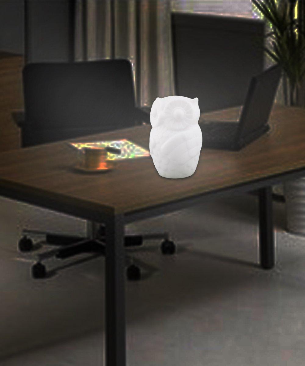 Lovingvs Owl Night Light, Cool White Battery Powered Porcelain Timer LED Table Lamp Desk lamp for Bedroom Decorative by Lovingvs (Image #4)