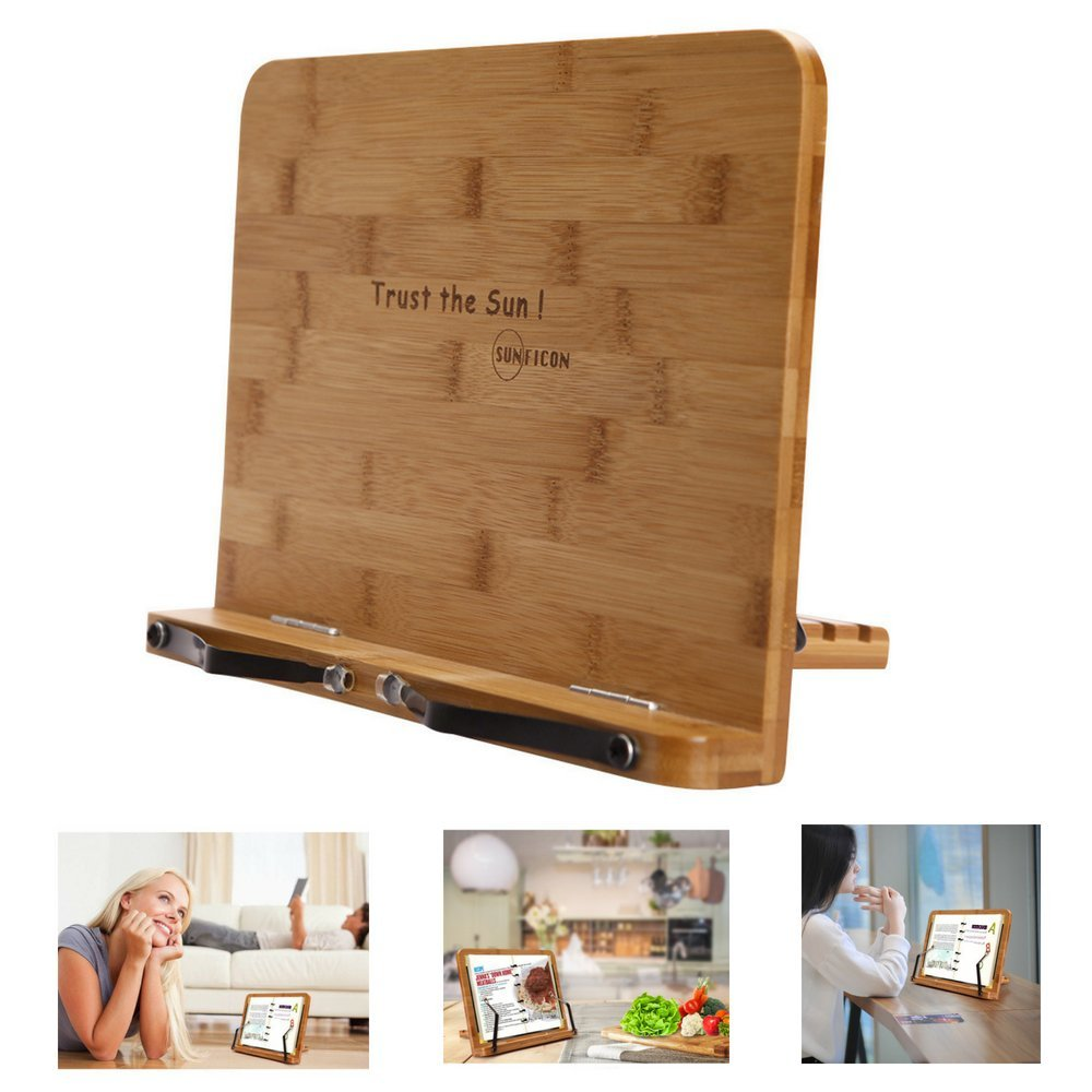 SUNFICON Cookbook Stand Bamboo Book Holder Collapsible Adjustable Book Tray to Hold Textbook Magazine Recipe Music Document Tablet PC Great Gift Idea for Family Friends Businessman Students Cook