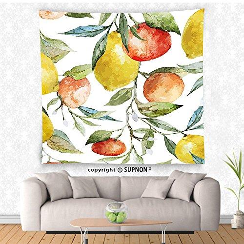 VROSELV custom tapestry Nature Tapestry Lemon and Orange Clementine Tree Branches Fruit Yummy Winter Season Vitamin Design Wall Hanging for Bedroom Living Room Dorm - San Clementine