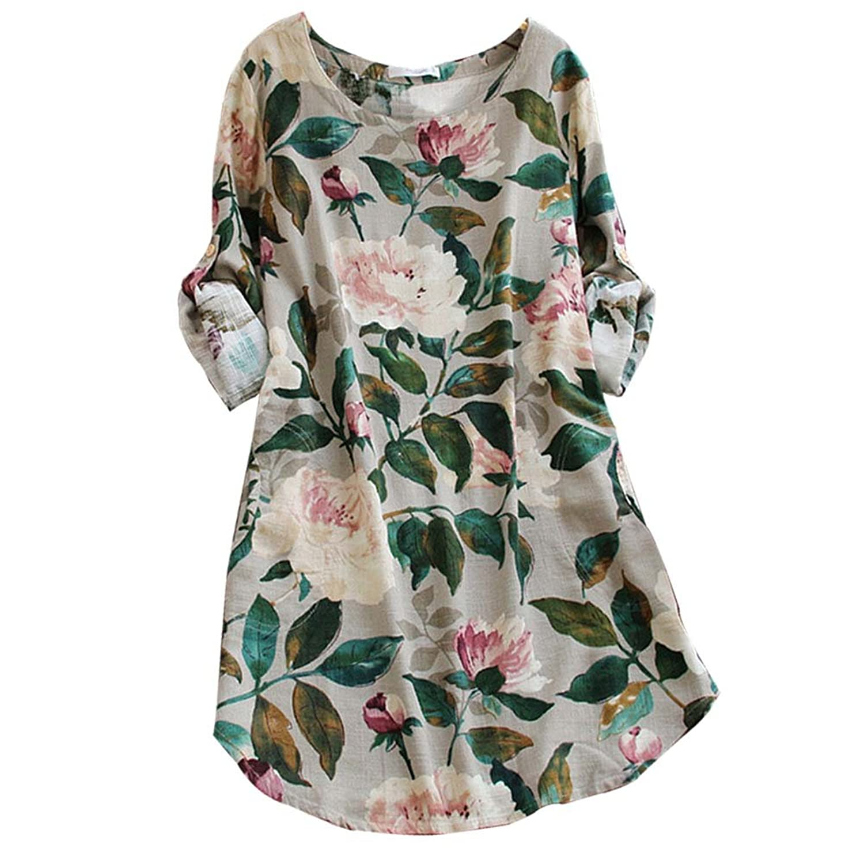 Ashir Aley Vintage Floral Loosen Pockets Cotton Long Sleeve Casual ...
