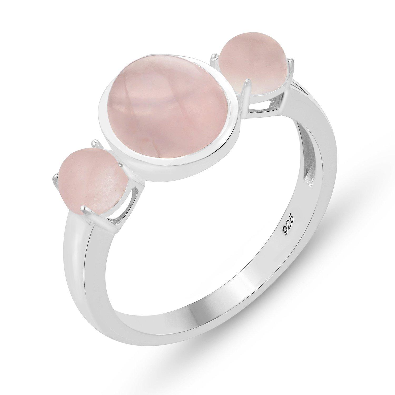 STELLAR DESIGNS Hypoallergenic Genuine Rose Quartz Ring in .925 Sterling Silver
