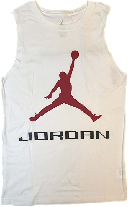 dac7c695853528 Amazon.com  Nike Air Jordan Boys Jumpman Logo Tank Top Shirt (White ...