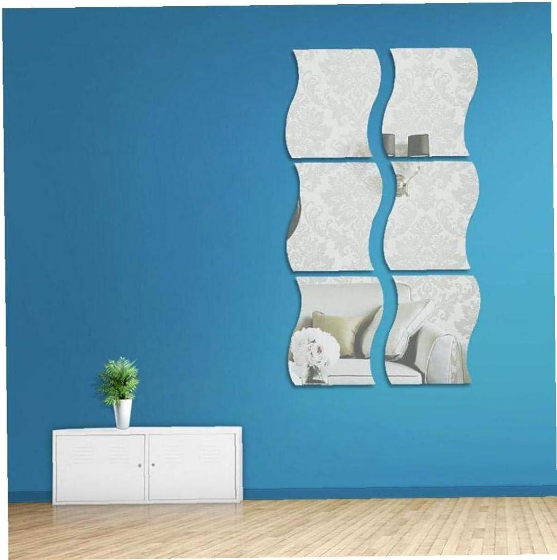 Casecover 6 Pi/èces Acrylique Amovible Miroir R/églage Mural Sticker Decal pour La Maison Salon Chambre D/écor Mural Miroir