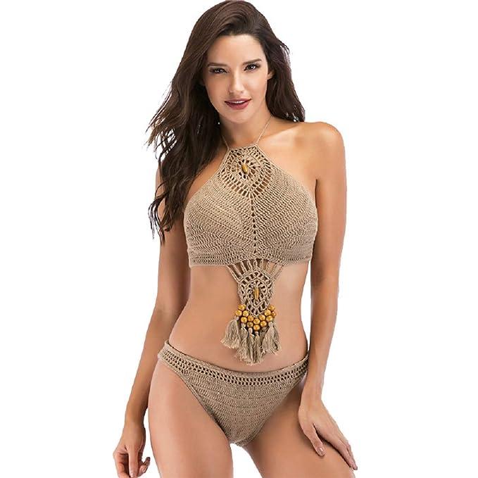 7bd398655720 Amazon.com: Shangrui Women Crochet Monokini Cut Out Bikini Beach ...