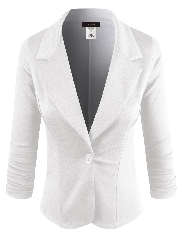 ELF FASHION Women Casual Work Knit Office Blazer Jacket Made in USA (Size S~3XL) White S