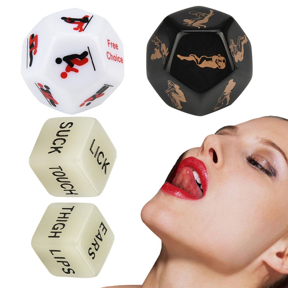 Emubody❤4 Fun Dice 4Pcs Beautiful Exotic Posture Play Dice Fetish Sex Toys Romance Erotic Craps Dice (Multicolor)