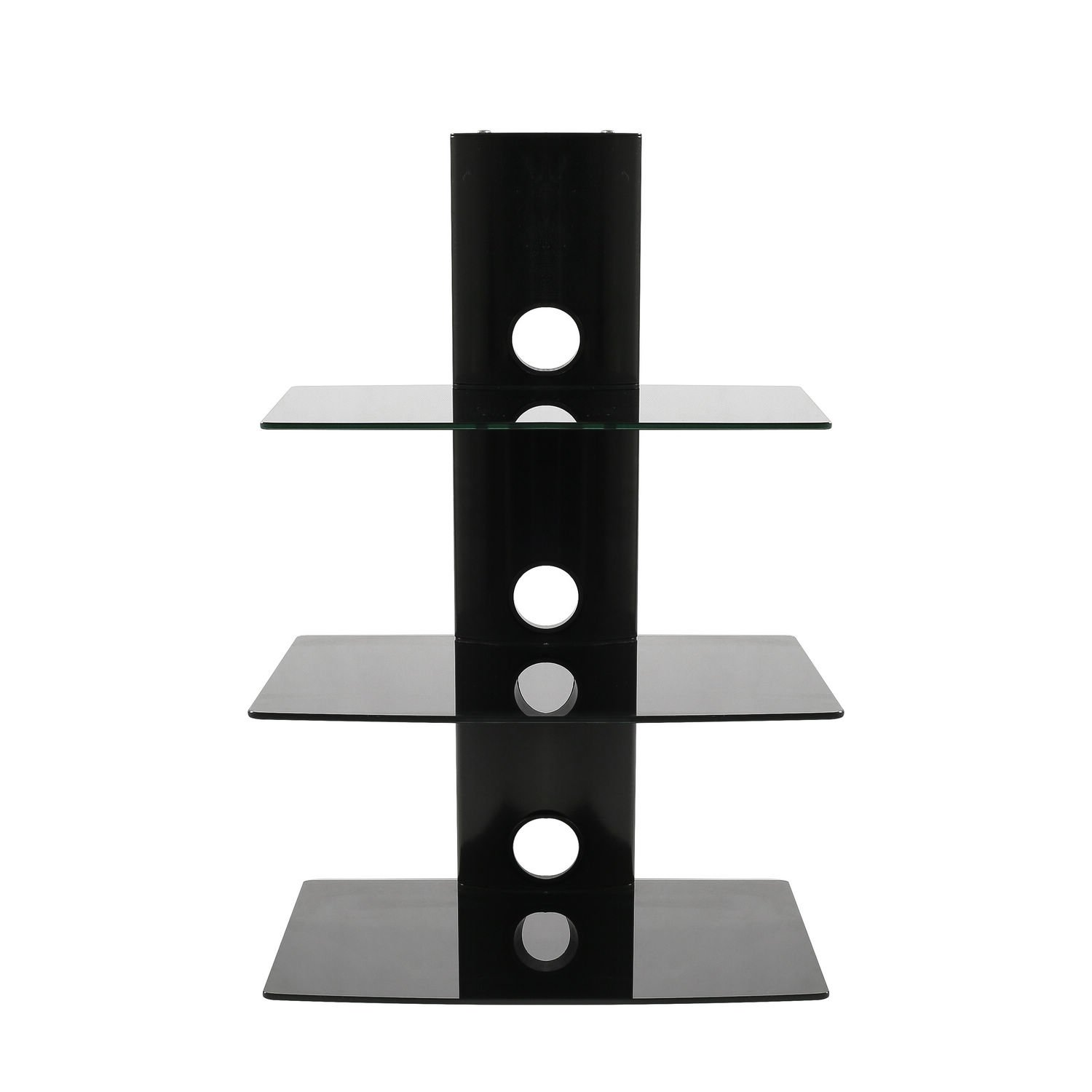 SevenFanS Floating Shelf Wall Mounted Tempered Glass Shelf for DVD Player/AV Receiver/TV Accessories, Black,3- Tier,Load Capacity 75lbs