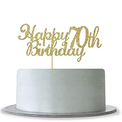 Amazon WeBenison Happy 70th Birthday Cake Topper Gold Glitter Hello 70 Fabulous Anniversary Party Decoration Home Kitchen