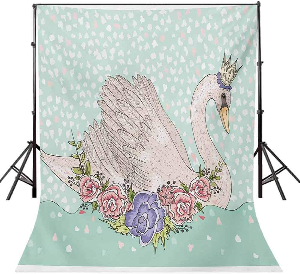 Queen 10x15 FT Backdrop Photographers,Cute Cartoon Swan on Water Crown Flowers Dreamy Fairytale Kids Playroom Background for Baby Shower Birthday Wedding Bridal Shower Party Decoration Photo Studio