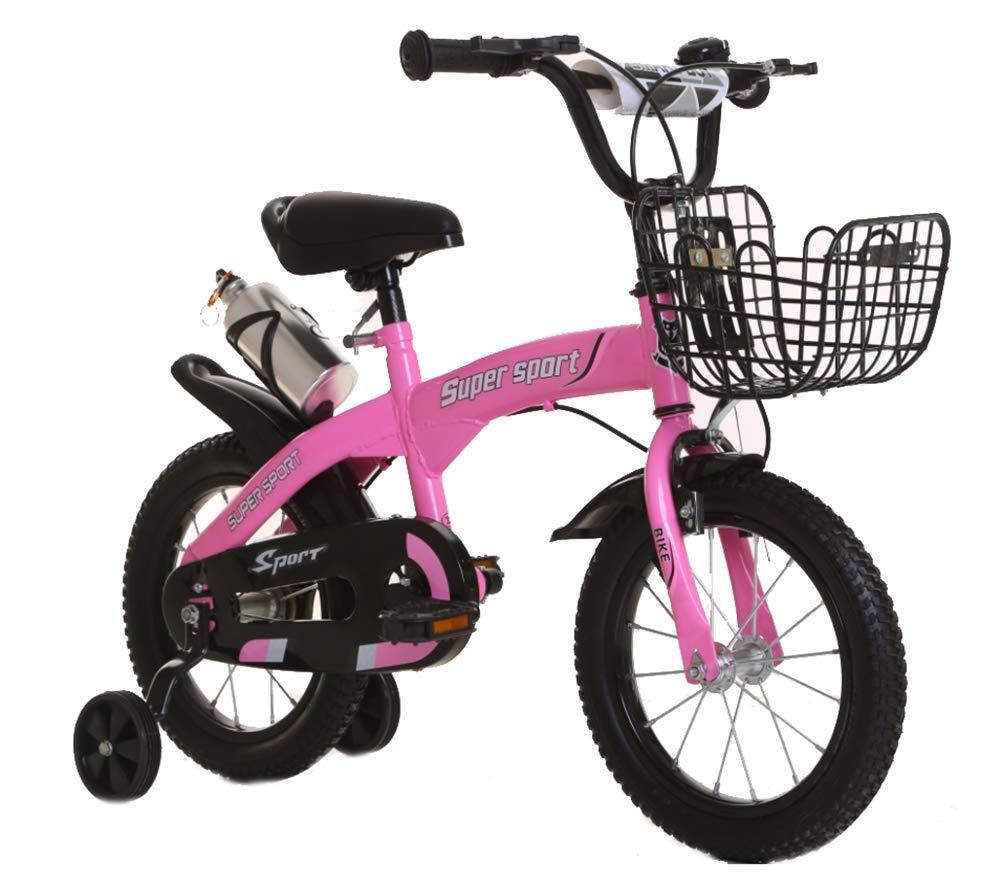 Niños Bicicleta de montaña Altura Ajustable Bicicleta Doble Freno Niño Niña La Seguridad Mojadura 18 Pulgadas 2-10 años de Edad,Pink