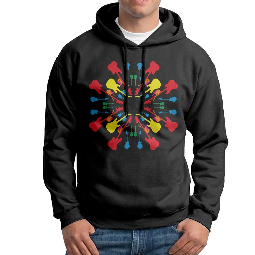 Kkajjhd Mix Round Color Guitar Sweatshirt Autumn Winter Mens Long Sleeve Pullovers