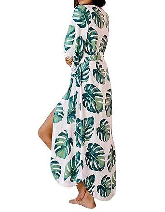 a3453ba728 MeiLing Women's Print Kimono Jacket Cardigan Long Robe Bathing Suit Bikini  Swimsuit Cover Up Swimwear (