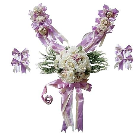 Kawn Pack Of 12set Wedding Car Decorations Kit Set Artificial Silk