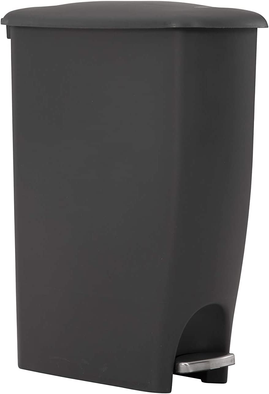 Rubbermaid Step On Lid Slim Trash Can for Home, Kitchen, and Laundry Room Garbage, 11.25 Gallon, Charcoal