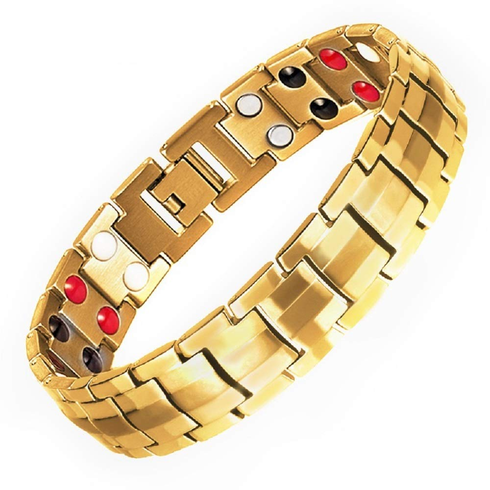 New Double Magnets Titanium Magnetic Therapy Bracelet Pain Relief for Arthritis and Carpal Tunnel Gold New