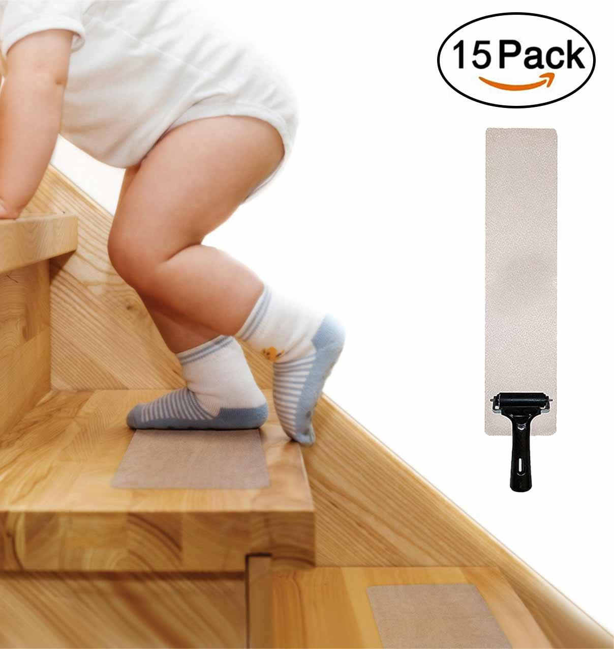 15-PACK Pre Cut Transparent 24''x4'' Anti Slip Clear Tape, Family Safety For Kids, Elders And Pets, Adhesive Stair Treads, Indoor, Outdoor, Prevents Slipping, Easy Installation KIT, PVC-FREE