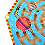 Maze Magnetic Game, Yamix Kids Wooden Toy Nine Planets Labyrinth Magnets Puzzle Maze Nine Planets Magnetic Labyrinth Fun Games