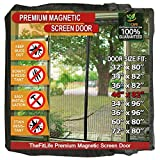 TheFitLife Magnetic Screen Door - Heavy Duty Mesh Curtain with Full Frame Hook and Loop Powerful Magnets that Snap Shut Automatically - 48