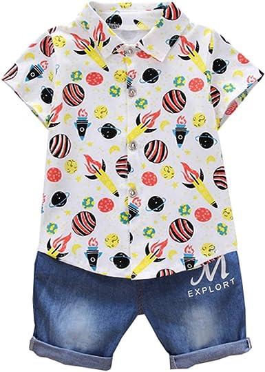 LENGIMA Camisa de Manga Corta para bebé niño pequeño + ...