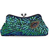 Kaever Women's Vintage Handbag Kiss Lock Sequin Clutch Purse Peacock Clutch Bag(Peacock Blue)