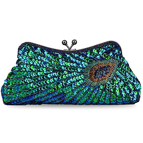 Kaever Women's Vintage Handbag Kiss Lock Sequin Clutch Purse Peacock Clutch Bag(Peacock Blue) by Kaever
