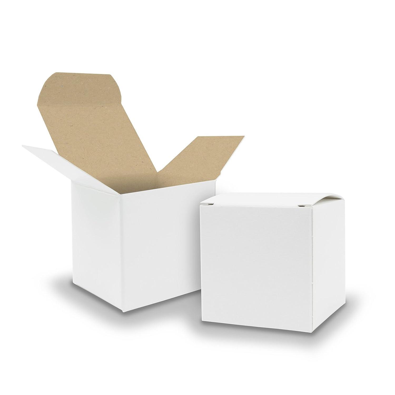 50x itenga Würfelbox Karton 6,5x6,5cm weiß Gastgeschenk Hochzeit Adventskalender