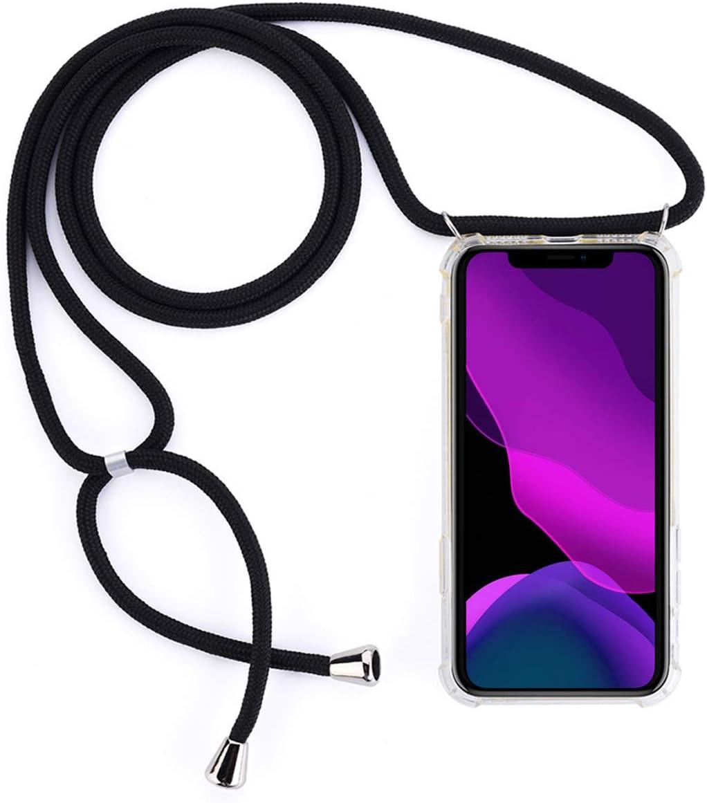 Funda con Cuerda para Xiaomi Redmi Note 7//Redmi Note 7 Pro,Moda y Practico Carcasa de TPU Mate Case Cover con Colgante//Cadena,Negro