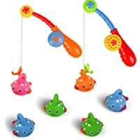 Bath Toys Set for Kids Toddler Shower Fishing Game Bathtub Water Toy Colorful Floating Fish with Hook Pole Baby Fun Indoor Bathtime Early Learning Summer Children Gifts for Boys Girls - Color Random