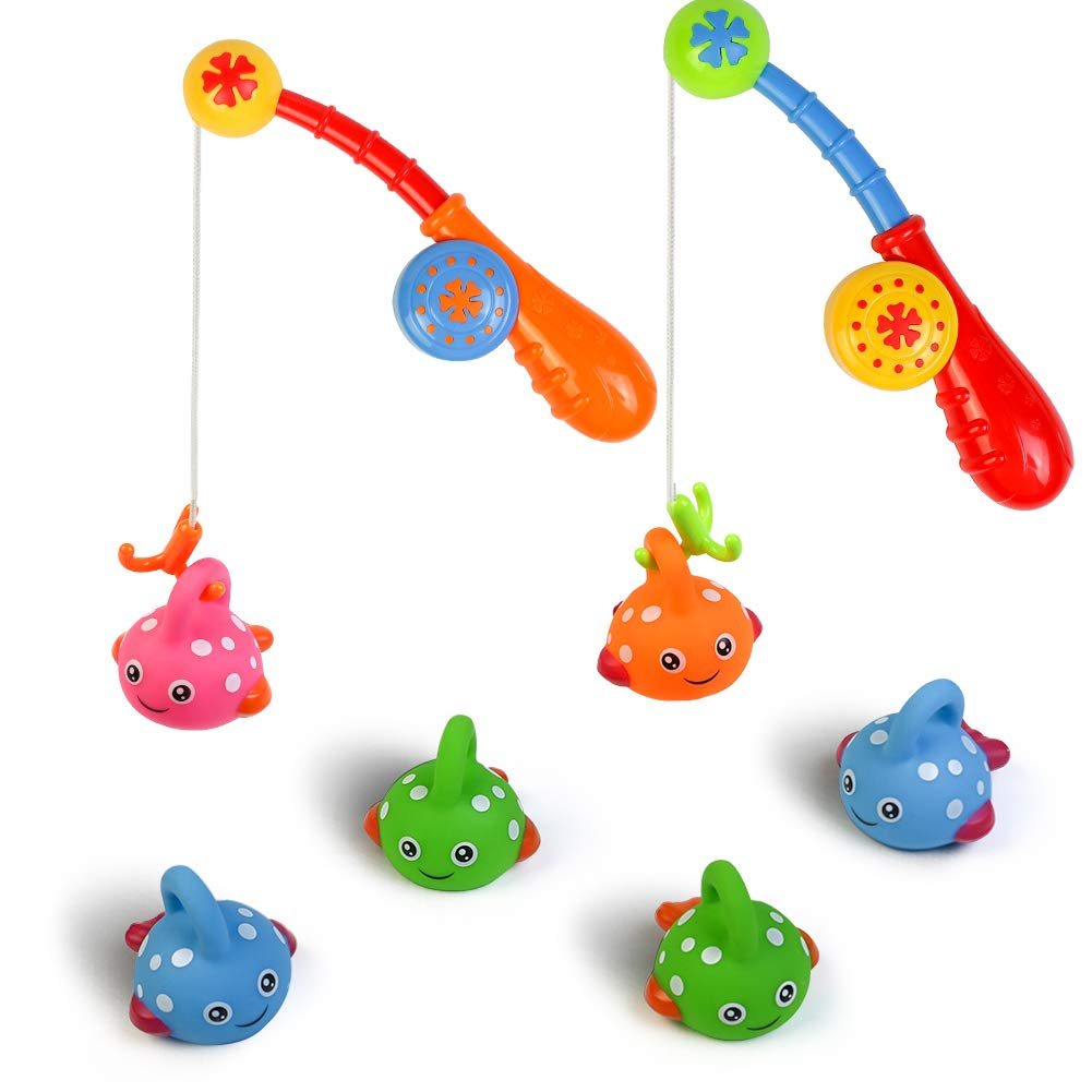 Fajiabao Bath Toys Set for Toddlers Shower Fishing Game Bathtub Toy Baby Fun Bathtime Colorful Floating Fish with Hook Pole Indoor Activities Festival Birthday Gifts for Boys Girls (Color Random)